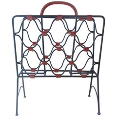 Midcentury Jacques Adnet Iron and Leather Magazine Rack