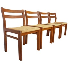Set of Four Danish 1960s Design Wooden Teak and Rope Chairs