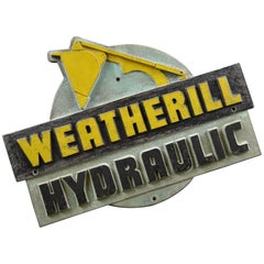 1950s Cast Iron Industrial Weatherill Hydraulic Loader Badge Sign , UK