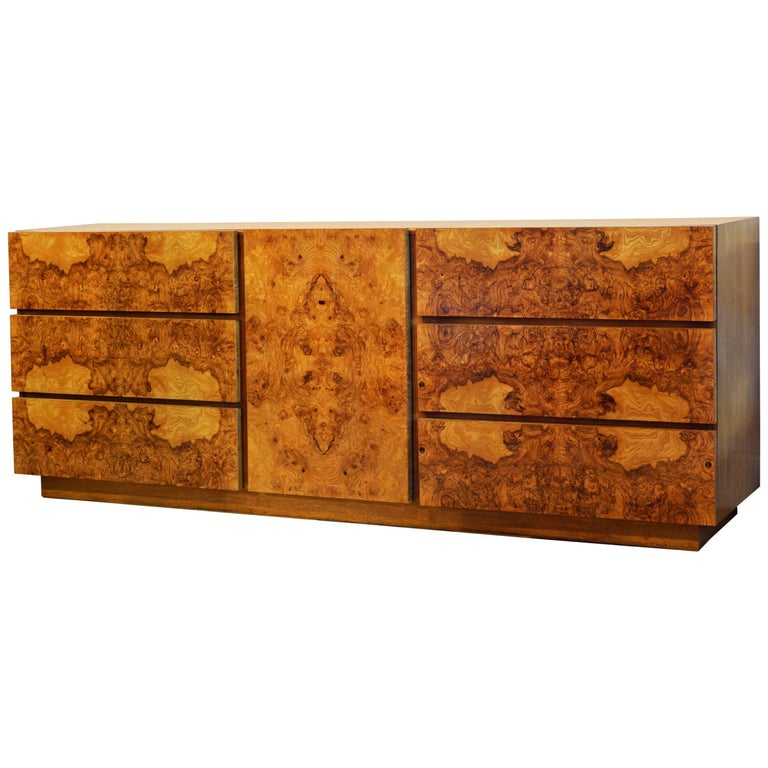 Minimalist Mid-Century Modern Burled Wood Dresser by Roland Carter for Lane For Sale