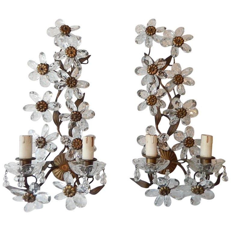 Big Maison Bagues Style Crystal Flower Bronze Sconces