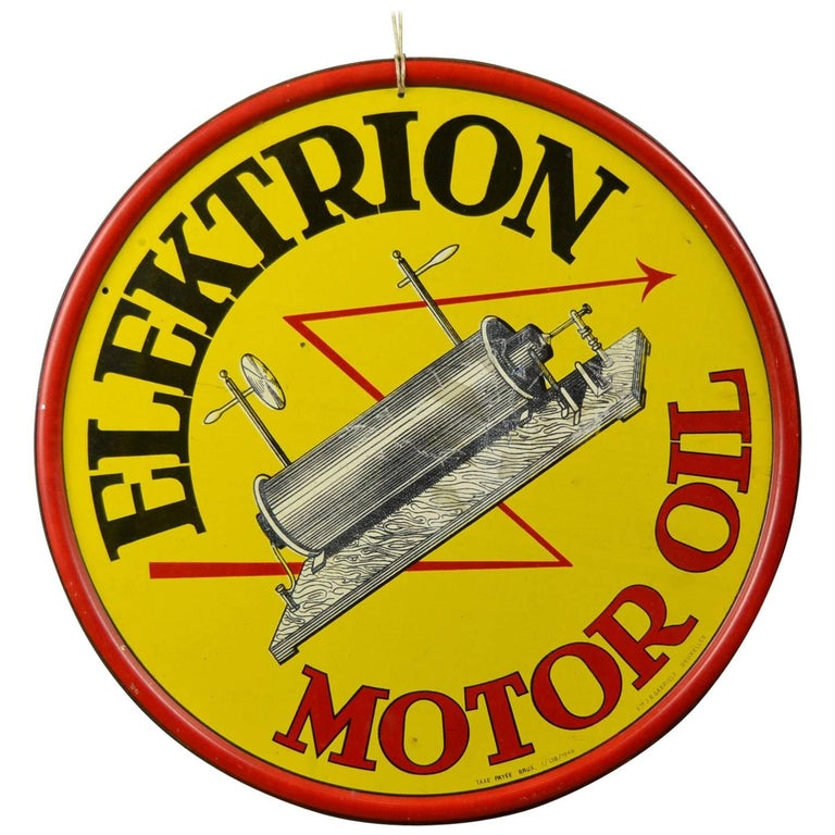 1946 Tin Advertising Sign  Elektrion Motor Oil