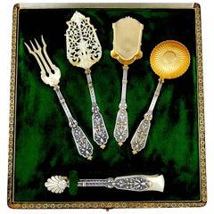 Puiforcat Rare French Sterling Silver 18 Karat Gold Dessert Set Box, Renaissance