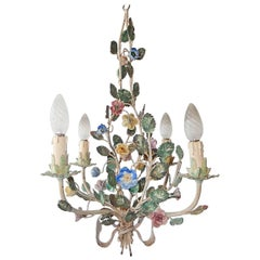 French Tole Pastel Porcelain Flowers Chandelier with Bow