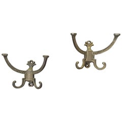 Pair of Victorian Hallstand or Coat Rack Hooks, Dated 1878 and Marked