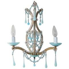 Aqua Blue Opaline Drops Murano Glass Chandelier, circa 1930