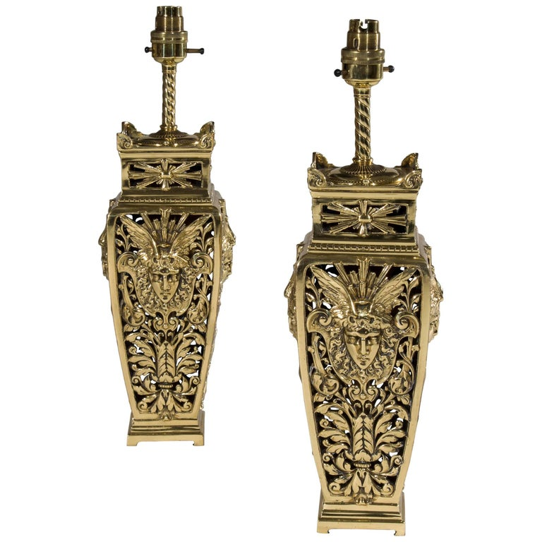 Antique English Victorian Beaux Arts Style Pair of Brass Table Lamps