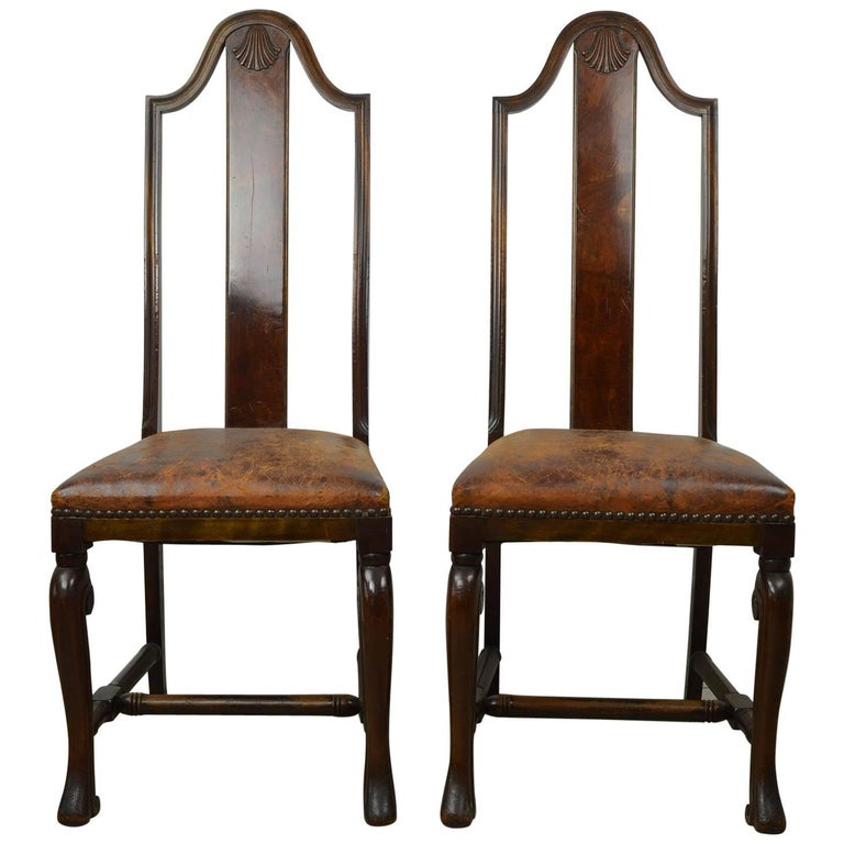 Pair of Antique Burl Walnut Side Chairs With Carved Shell Detail