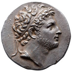 Ancient Greek Silver Hellenistic Tetradrachm Coin of King Perseus, 174 BC