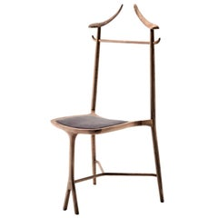 Chambre Close Clothes Stand and Chair Made in Solid Cherry or Walnut by Ceccotti