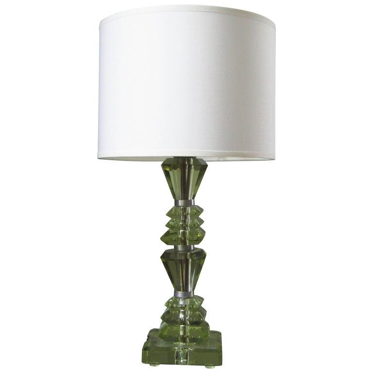 Art Deco Table Lamp, Cut Christal Glass by Saint Gobin