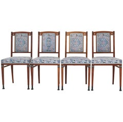 Four Mahogany Dutch Art Nouveau Chairs by J.M. Middelraad for Pander, 1900s