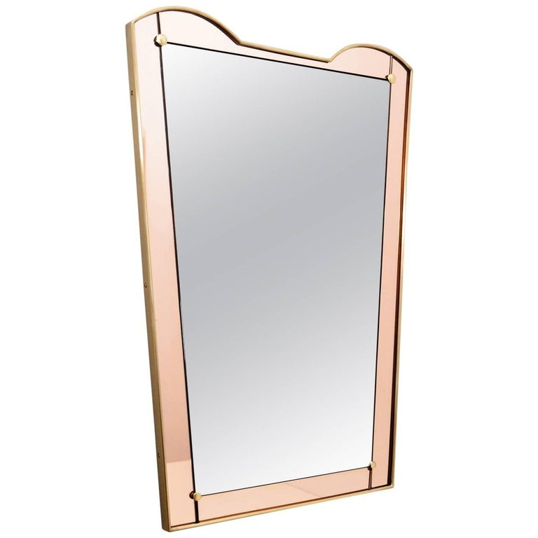 Italian Brass and Pink Glass Wall Mirror, 1960s
