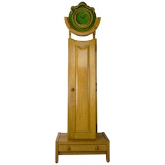 French Design Oak And Ceramic Longcase Clock By Guillerme And Chambron