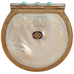 Early 19th century wallet in mother-of-pearl, enamel, silver-gilt and turquoise