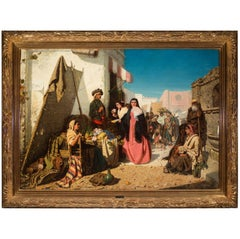"""19th Century Oil Painting by Robert Kemm """"Seville Marketplace"""" circa 1860s"""