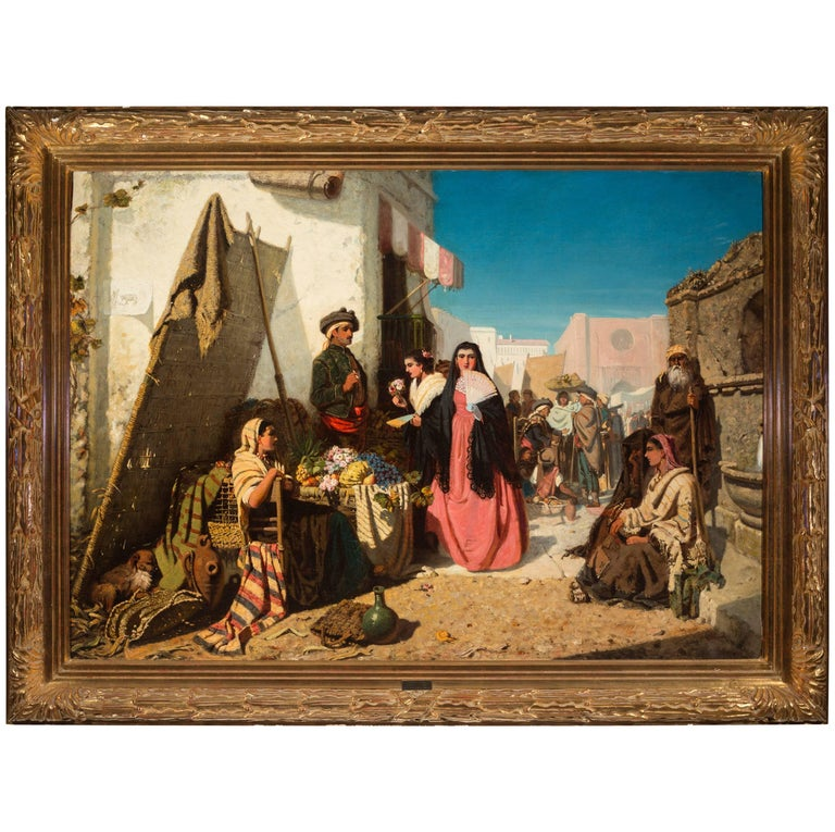 "19th Century Oil Painting by Robert Kemm ""Seville Marketplace"" circa 1860s"