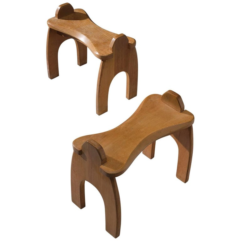 Pair of Wooden Stools, Solid Oak, 1950s, Europe