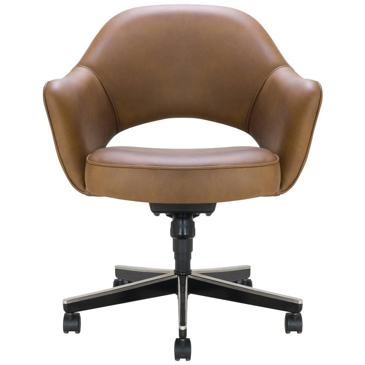Pair of Steelcase Leather and Fabric Arm Chairs For Sale at 1stdibs