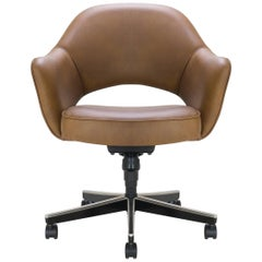 Saarinen Executive Arm Chair in Saddle Leather, Swivel Base