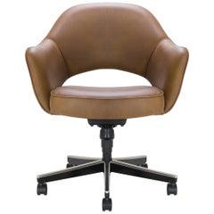 Saarinen Executive Arm Chair in Saddle Leather, Swivel Base