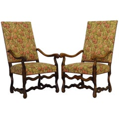 Pair Os de Mouton Armchairs French 19th century Throne Chairs Walnut FREE SHIP