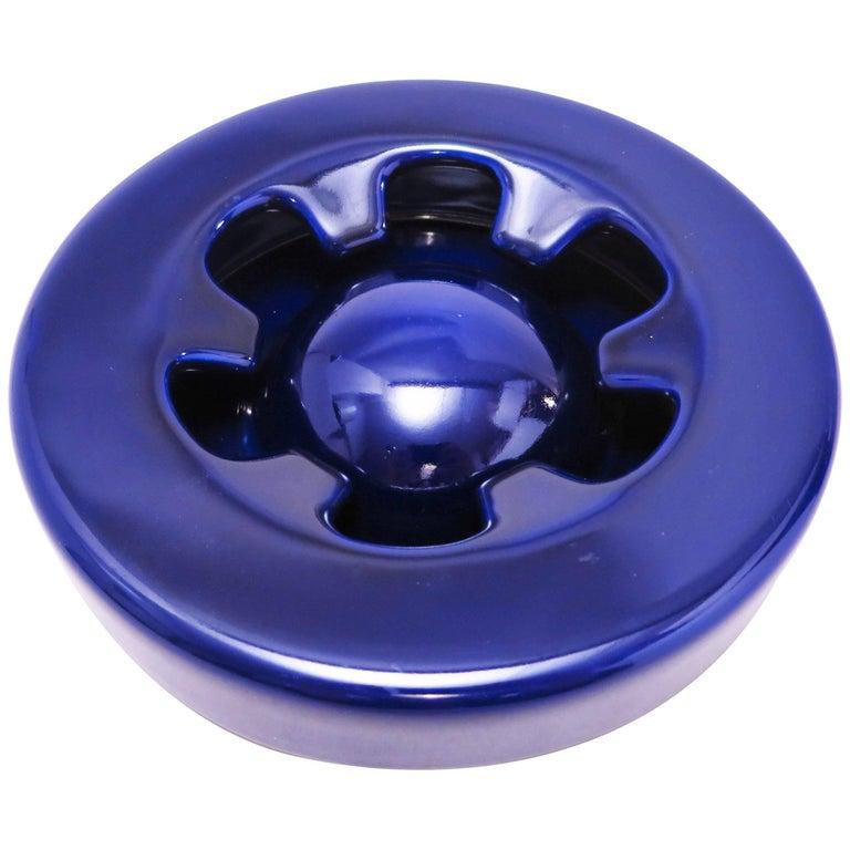 Blue Ceramic Ashtray Brambilla by Angelo Mangiarotti circa 1967 For Sale