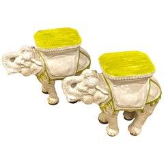 Pair Italian Ceramic Elephant Garden Stools or Tables