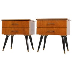 Pair of Italian Mid-Century Modern Nightstands or Bedside Tables, 1950s