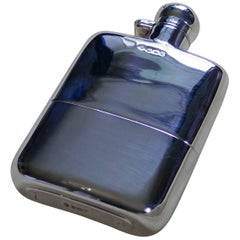 A Solid Silver Hall Marked Hip Flask and Cup by Stewart Dawson & Co, 1912