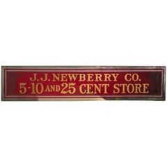 JJ Newberry Dept Store 5-10 And 25 Cents Sign Gilt Reverse Glass, circa 1920