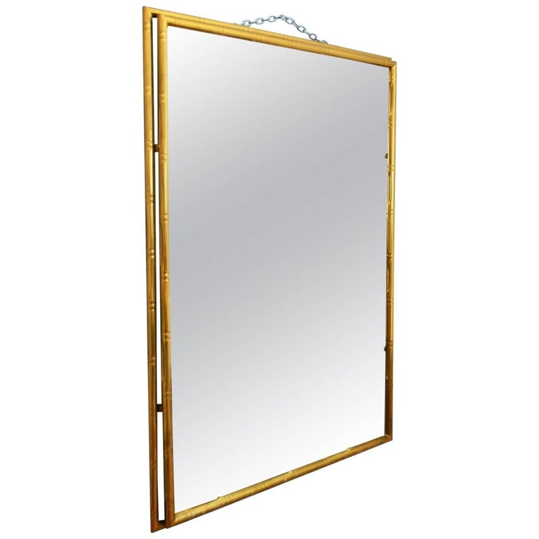 Faux Bamboo brass and cut glass wall mirror, 1960s