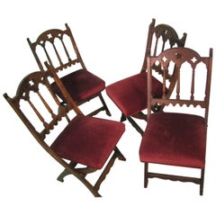 19th Century Set of Four Gothic Style Church Choir Chairs