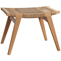 Contemporary Pi Stool, Oak Frame with Clear, Matt Oil-Finish, Danish Cord Seat