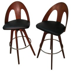 Pair of Mid-Century Modern Pierced Walnut Spoon Back Bar Stools