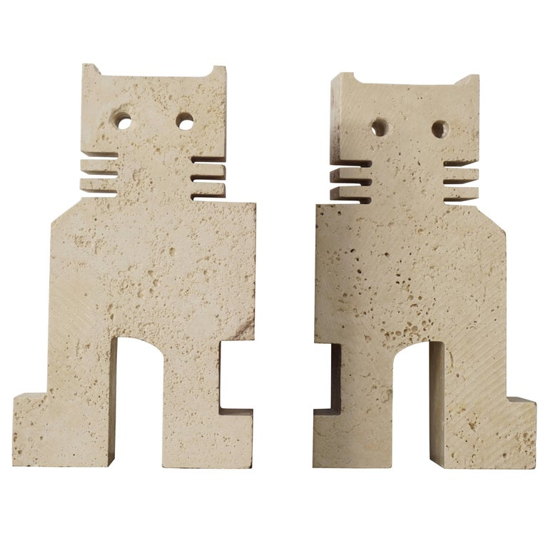 Mid Centruy Italian Pair Of Travertine Bookends By Fratelli Manelli