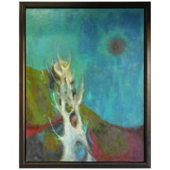 Midcentury Oil Painting Abstract Landscape, 1965