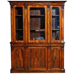 William IV Rosewood Book-Matched Bookcase Cabinet, English, circa 1840 In Stock