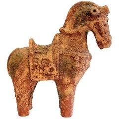 Vintage Bitossi Italian MCM Pottery Raymor Ceramic Scavo Horse Sculpture Figure