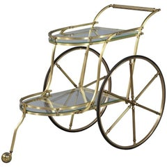 Vintage Brass Italian Bar Tea Trolley