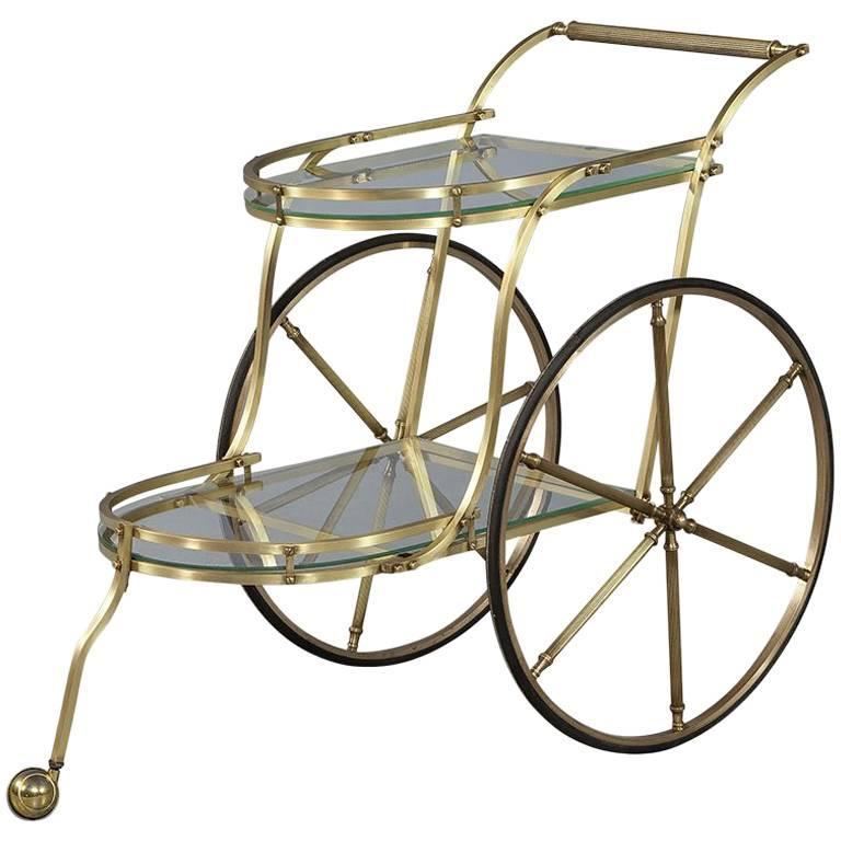 Vintage Brass Italian Bar Tea Trolley