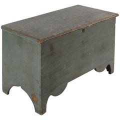 Maine Blanket Chest in Blue Paint with Beautifully Scalloped Feet