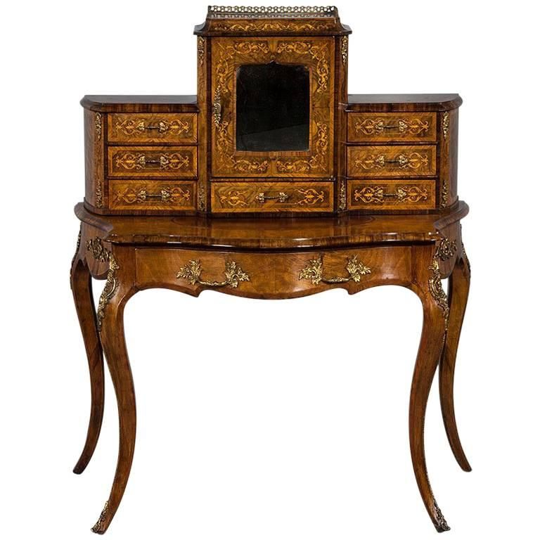 Antique French Louis XV Inlaid Escritoire Vanity Desk