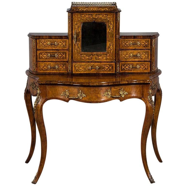 Antique French Louis XV Inlaid Escritoire Vanity Desk