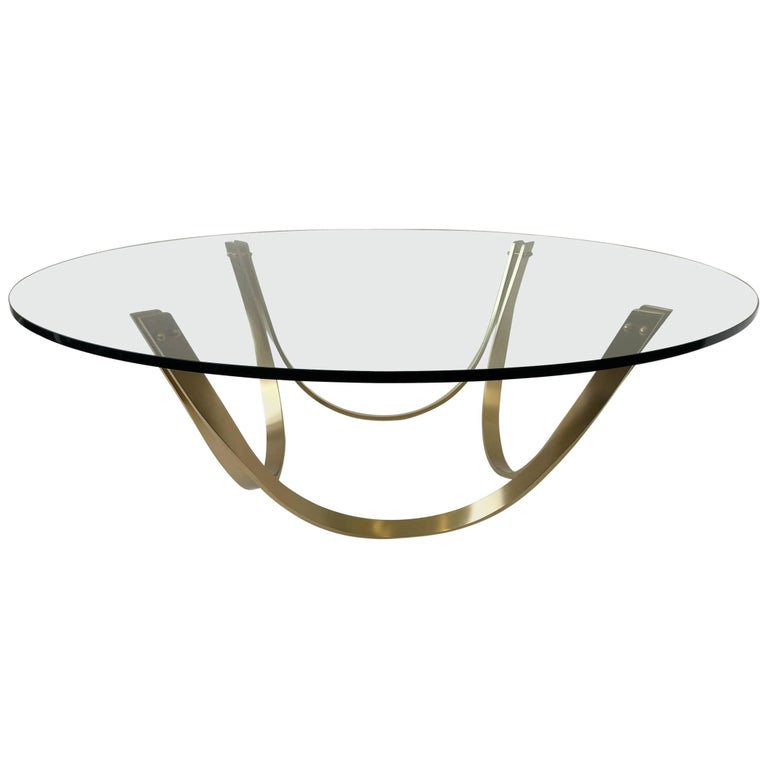 Brass and Glass Cocktail Table by Tri-Mark Design
