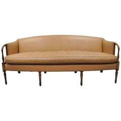 Sheraton Federal Style Caramel Tan Leather Upholstered Inlaid Sofa by Southwood