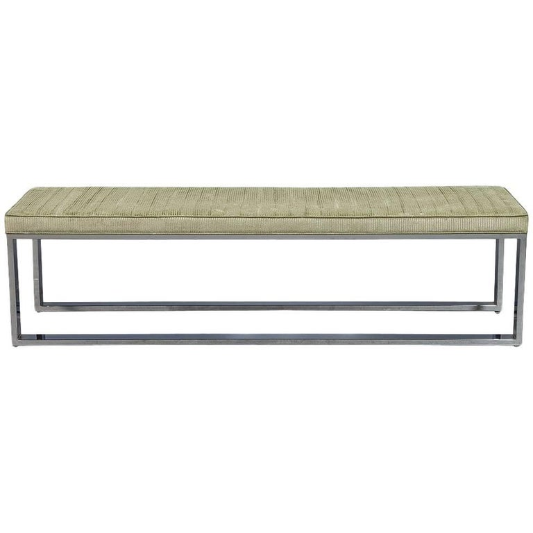 Custom Polished Stainless Steel Modern Upholstered Bench
