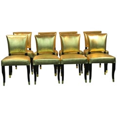 Suite of Eight Gold Faux Snakeskin Chairs with Decorative Gold Buckle Backs