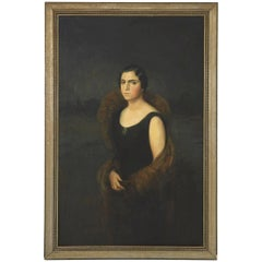 Early 20th Century Oil Painting of Elegant Spanish Woman