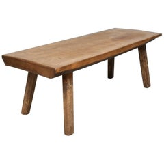 Vintage Oak Butcher's Block Coffee Table/Bench, 1930s